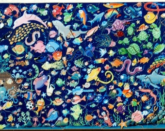 Hand Cut Wooden Whimsical Undersea Jigsaw Puzzle (53 pieces) with Plywood Storage Box.  FREE US SHIPPING