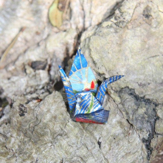 Origami Crane Broach - Bright Blue with Gold and Red Waves