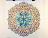 "8x8'' Peaceful Mandala Art ""Snowflake Reflection""  - Archival Print Sacred Geometry Art"