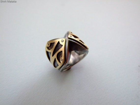 Gold and Silver Statement Ring - men's ring , for him ,engagement ring , black and gold , alternative ring , medieval ring , knight ring