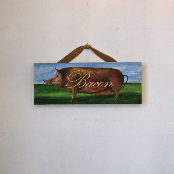 pig painting,Bacon,Original acrylic painting on reclaimed solid wood board