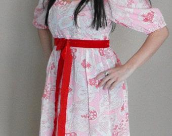 Hippie Maxi Bird Print Dress Pink Red Cotton Empire Vintage 70s 1970s S M