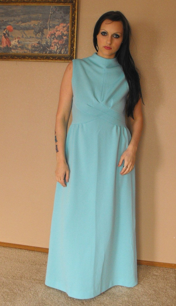 Blue Mod Dress Sleeveless Maxi 1970s Vintage 70s L M