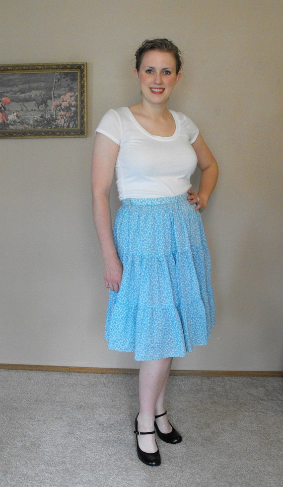 Vintage Blue Skirt Square Dancing Country Floral Pete Betina L