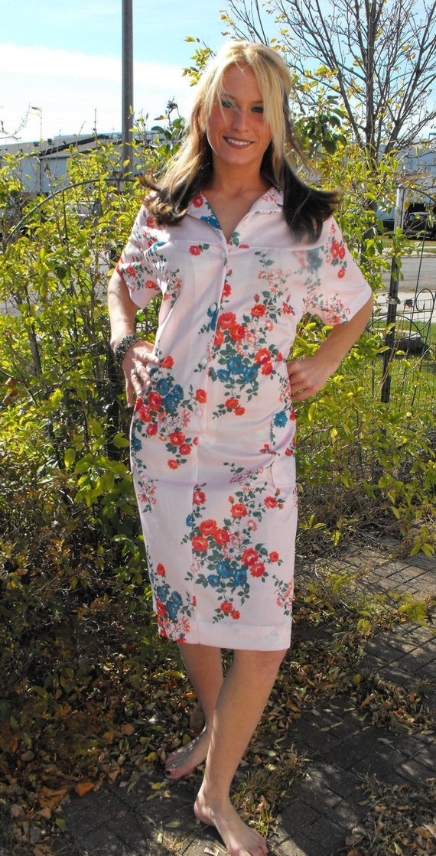 Vintage 60s Dress Pink Floral Print XXL Plus 46 Bust 44 Waist