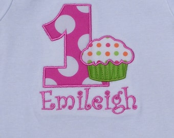 Girls' First Birthday Cupcake  Hot Pink and Lime T Shirt or Bodysuit
