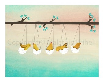 Early Birds - art print featuring five baby birds