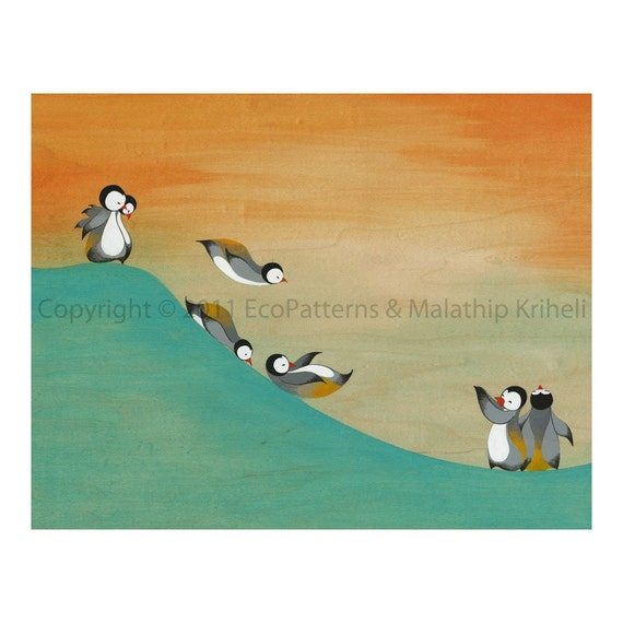 Slip And Slide On The Slope - art print featuring penguins