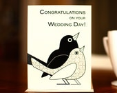 Love Birds Black & White Wedding Card on 100% Recycled Paper