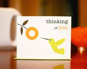 Mod Hummingbird with Orange Flower - Thinking of You Card
