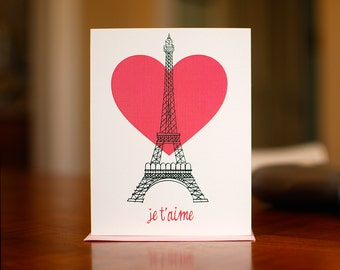 Je T'Aime Eiffel Tower I Love You Card on 100% Recycled Paper