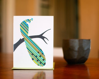 Pretty Peacock - Blank Card in Green & Blue (100% Recycled Paper)