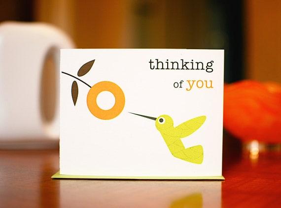Mod Hummingbird with Orange Flower - Thinking of You Card