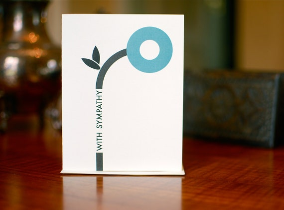 Minimalist Flower in Blue - Sympathy Card on 100% Recycled Paper