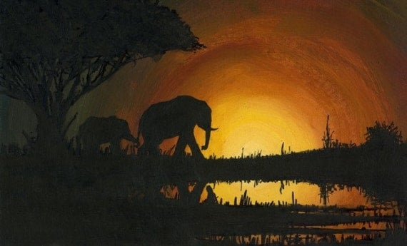 Elephants sunset acrylic original