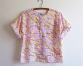 Vintage 1980s Blouse / ABSTRACT NEON Cotton Blouse / Size Small or Medium