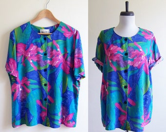 Vintage 1980s Blouse / BRIGHT TROPICAL Rayon Slouch Blouse / Size Large or XL