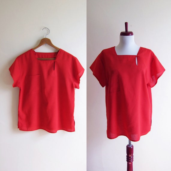 Vintage 1970s Blouse / TOMATO RED Slouch Cotton Blouse / Size Medium or Large