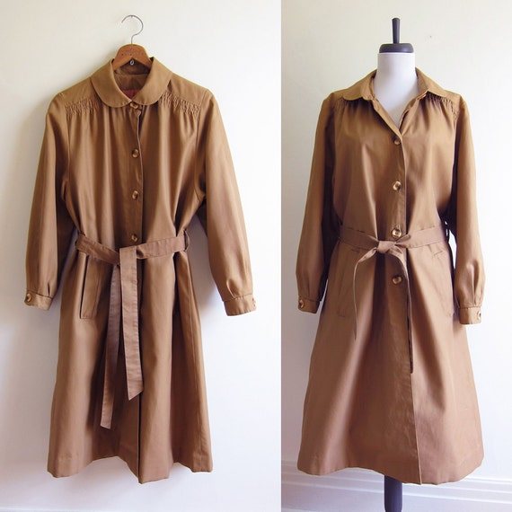 Reserved for Krista ---- Vintage 1960s Trench Coat / BUTTERSCOTCH Peter Pan Collar Rain Coat / Size Large XL Plus Size