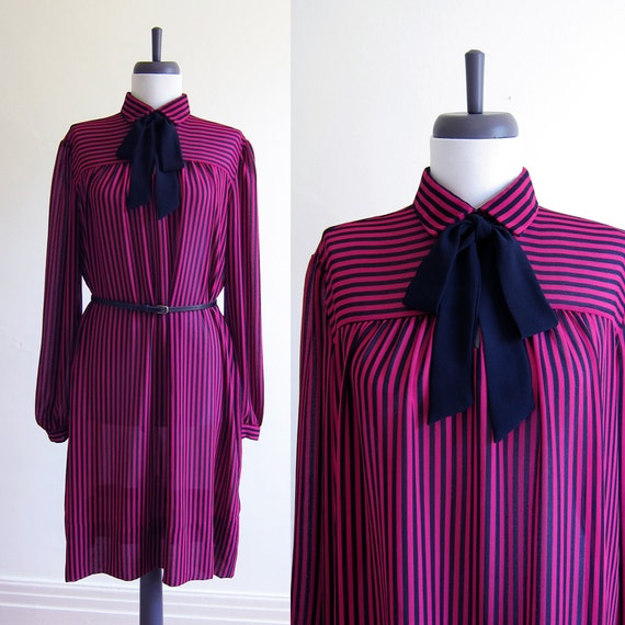 Vintage 1970s Dress / MAGENTA STRIPE Pussy Bow Secretary Dress / Size Extra Large Plus Size