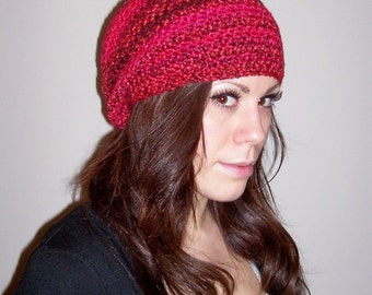 womens slouch hat ladies slouch hat girls crochet slouch hat slouchie beanie berries multi reds youth/adult 4547
