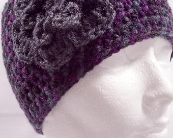 womens crochet hat, flower, girls crochet hat, womans crochet beanie, vegan friendly, purple, gray, black, charcoal, youth, adult 5314