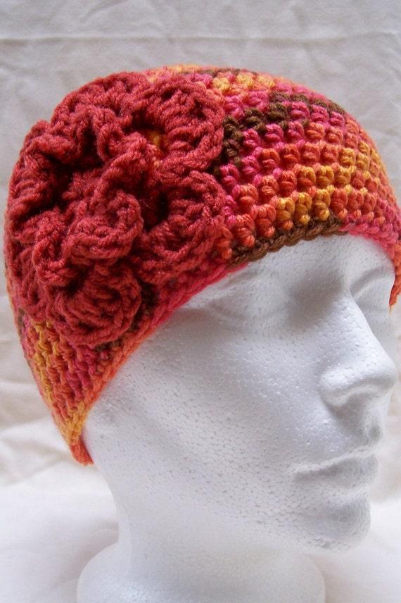 CLEARANCE- womens hat ladies flowered hat girls crochet hat beanie cloche orange gold brown orange flower hats for women youth adult 5265