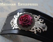 Leather Cuff -Burgundy Rose and Clock