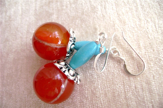 Red Agate Earrings, Turquoise, Gemstone Jewelry, Sterling Silver, Orange, Red, Blue, Summer, 202