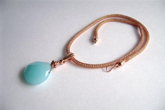 Larimar Necklace, 50% OFF SALE, Larimar Chalcedony, Chalcedony Pendant, Copper Necklace, Silver Silk, Aqua, Turquoise, Blue, Tawny, 325