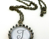 Leopard Bronze Chain Necklace Bottle Cap Jewelry Monogram Initial