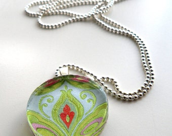 Silver Chain Necklace, Green Jewelry, Pink Necklace, Glass Tile Jewelry, Vera Bradley Style