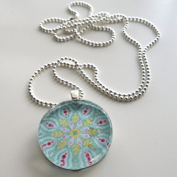 Snowflake Pendant Long Necklace Glass Tile Jewelry Silver Ball Necklace