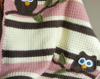 Owl Baby Blanket Girl Baby Shower Gift