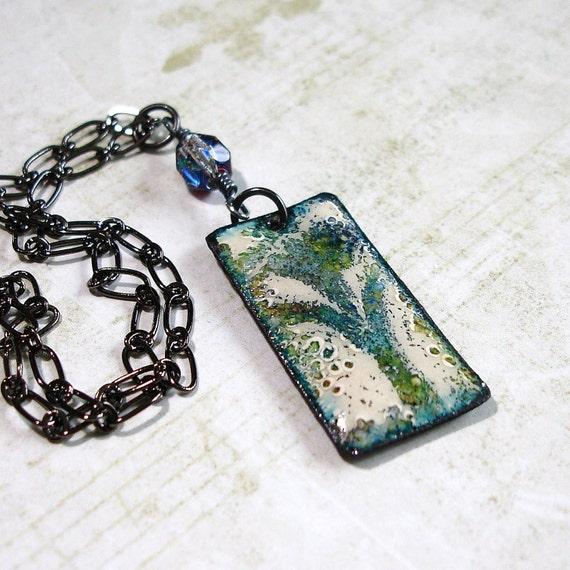 Enamel Necklace, Teal Flower Pendant, Enamel Jewelry