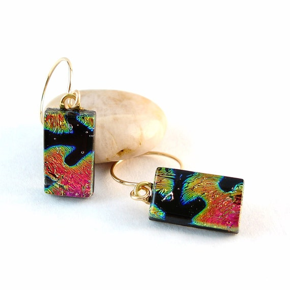Coral and Black Earrings, Dichroic Glass Earrings, Gold Filled Wires, Fused Glass Jewelry