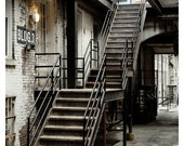 Post Industrial Photograph Print - rustic stair in warehouse vintage style photo 8x10