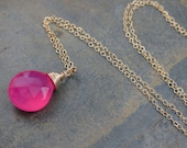 Hot Pink Chalcedony - Hard Candy -  Briolette Charm Pendant in 14kt Gold Filled