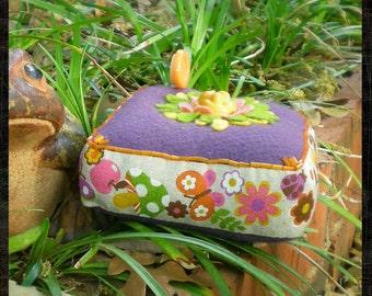 Pincushion - Large Felt Vintage Print Pin Pillow - Flower Pincushion - Butterflies and Bugs Pincushion - Purple and Orange Mod Sixties Print