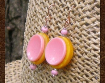 Drop Earrings - Vintage Button Dangle Earrings - Retro Pink and Yellow Earrings - Mother of Pearl Button Earrings - Retro Mod Upcycled - R64