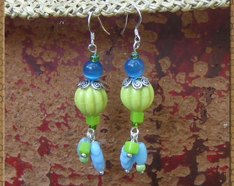 Dangle Bead Earrings - Vintage Bead Earrings - Tropical Color Earrings - Blue and Green Upcycled Vintage Beads - Turquoise Beads - R61