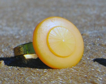 Vintage Button Cabochon Ring - Golden Yellow Button Ring - Adjustable Vintage Button Ring - Vintage Etched Button - R31