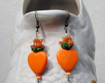 Dangle Earrings - Orange Hearts and Flowers Earrings - Romantic Earrings - Lampwork Flower Bead Earrings - Drop Earrings - R59
