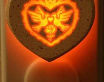 Love Birds Heart 1/3watt NeonLithic Nightlight