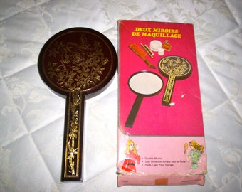 Vintage 60s Two Nested Gold Embossed Make-Up Mirror
