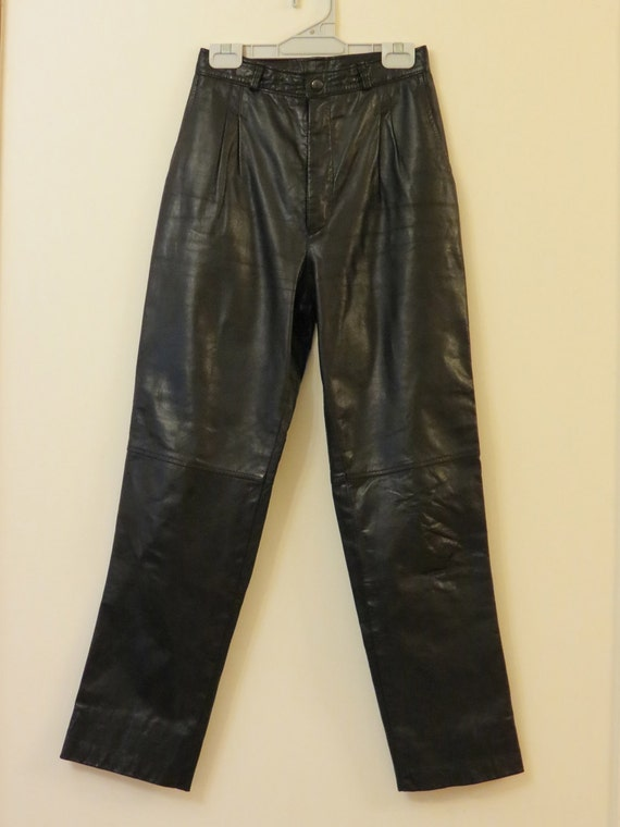 Vintage  Motorbike Rider Winter 1980s High Waisted Soft Black Leather Pants
