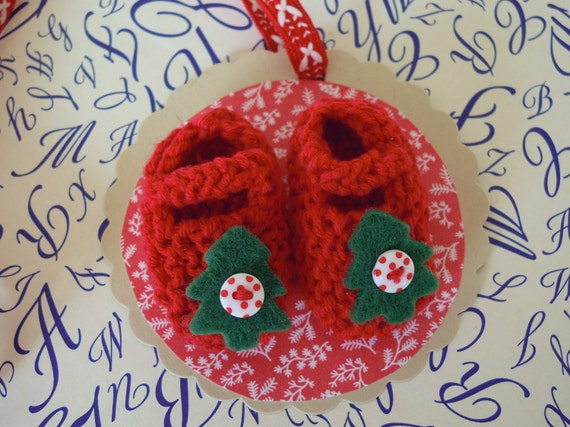 Mini christmas tree red baby booties/ shoes gift tag - doubles as keepsake tree decoration