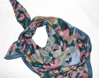Vintage Scarf - Misty Watercolor Floral - Teal, Mauve, Mustard