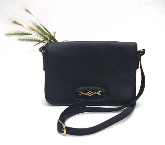 Navy Leather and Gold Detail Handbag - Vintage Bag / Satchel