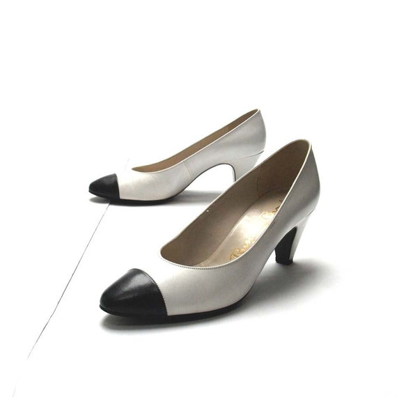 Russell and Bromley Heels - Black and White - Vintage Shoes - Monochrome